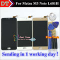 "LCD Display +Digitizer Touch Screen Assembly For Meizu M3 Note L681H Cellphone 5.5""  Black / White / Gold color"