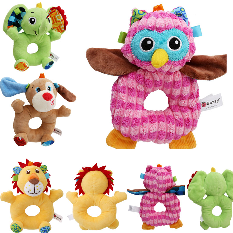 Sozzy Newborn Cute Cotton Baby Boy Girl Rattles Infant Animal Hand Bell Kids Plush Toy Development Gifts Rings Toddler Toys