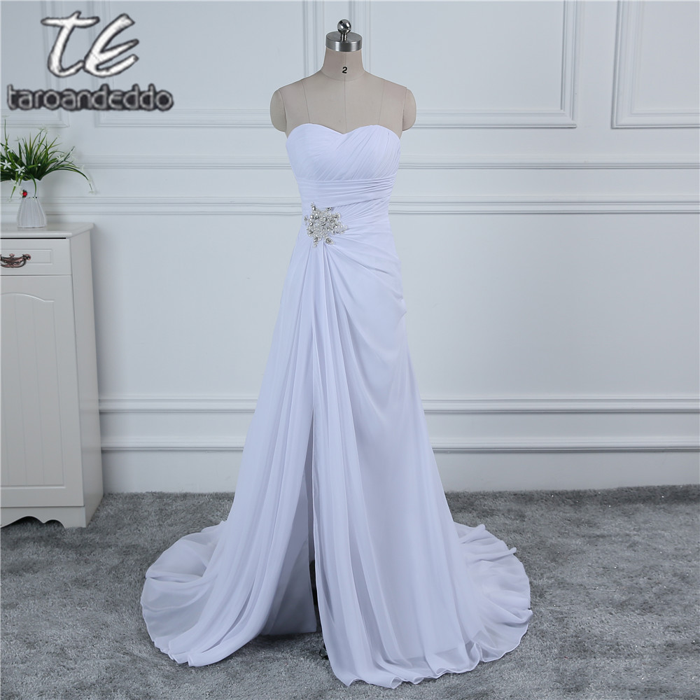 Strapless Cheap Chiffon Wedding Dress Under 100 White/Ivory Front ...