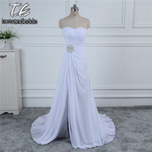 Strapless Cheap Chiffon Wedding Dress Under 100 White/Ivory Front Slit Ruched Long Bridal Dress with Train Reals Good Quality(China)
