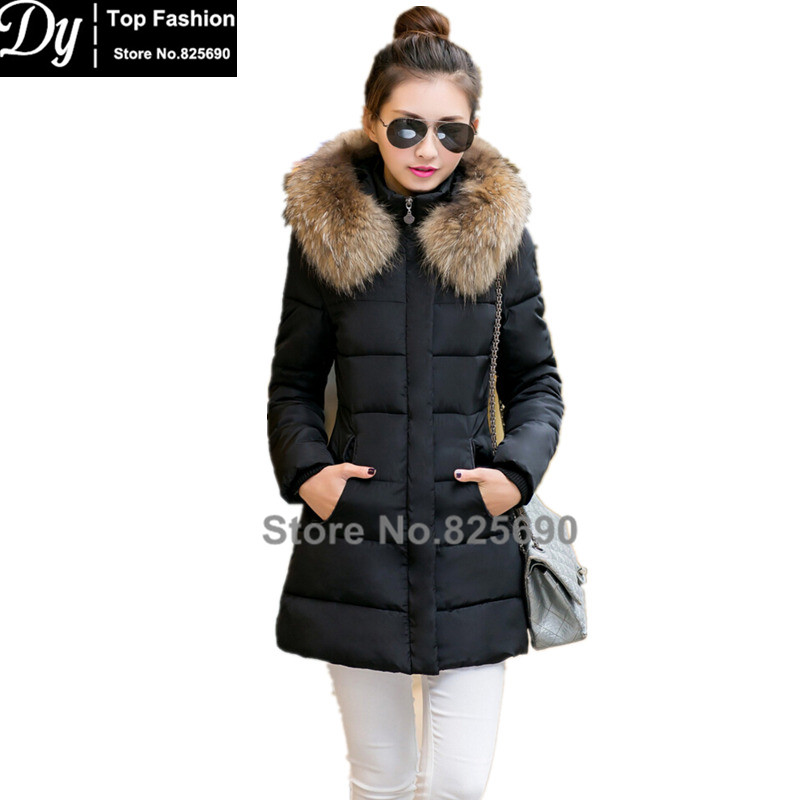 ФОТО New Padded Winter Jacket Women Cotton Women's Winter Jacket Fake Fur Hooded Long Padded Plus Size Solid Parkas Hooded Coat