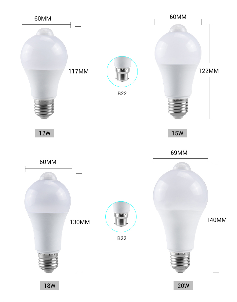 EeeToo Night Light LED Bulb PIR Sensor Motion AC 85-265V B22 E27 LED Bulb Lamp 12W 15W 18W 20W Dusk to Dawn Light for Home (3)