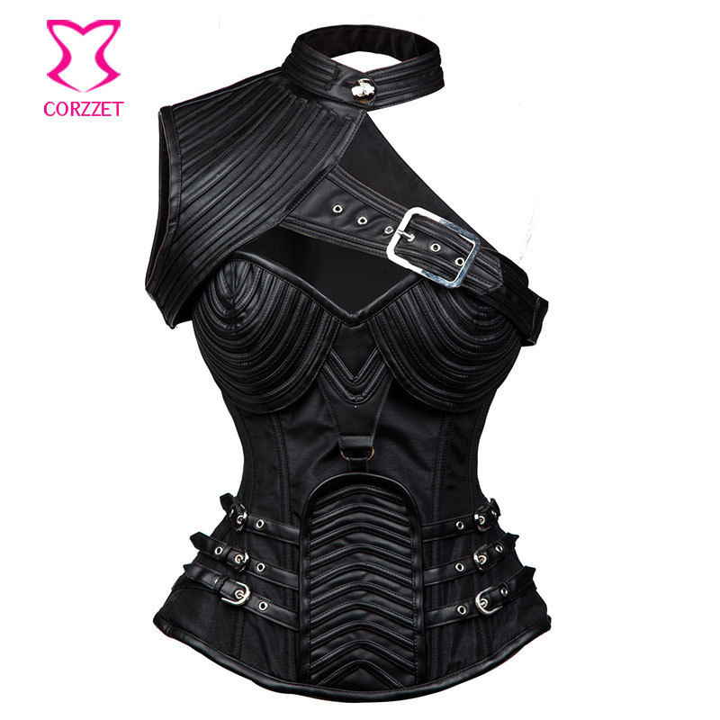 Corzzet Plus Size Vintage Black Leather Armor Steel Boned Overbust Corset And Bolero Hot Shaper Body Gothic Steampunk Corsets