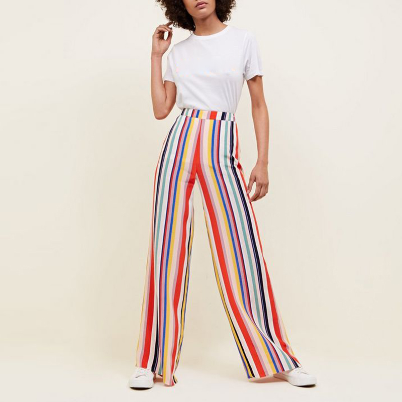 high street Women Trousers Casual Multi-color Striped   Wide     Leg     pants   fashion ladies High Waist rainbow color   Pants   pantalon 2018