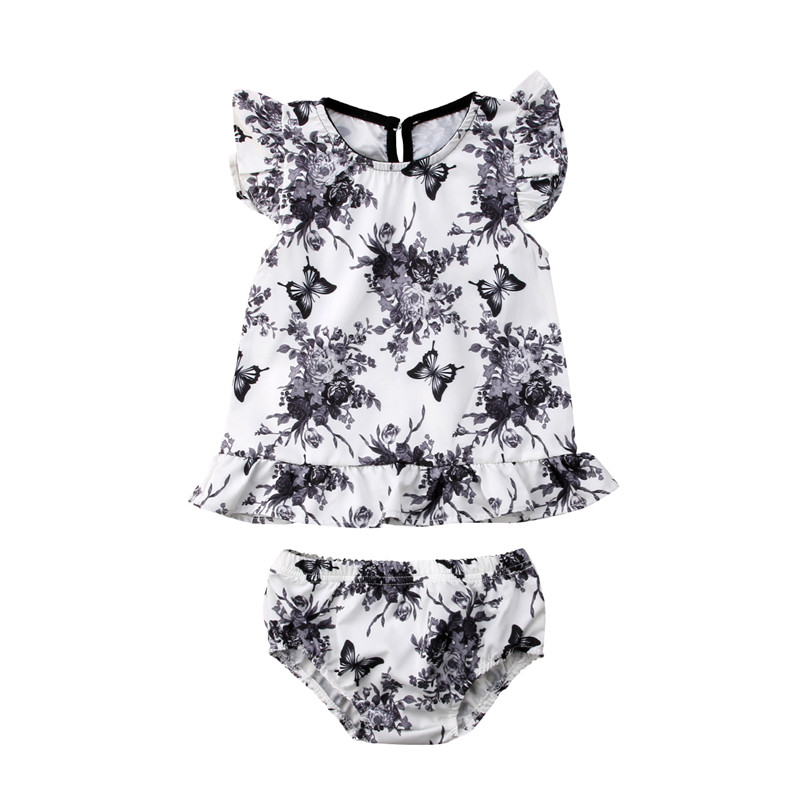 2pcs Newborn Baby Girl Clothes Flower Boho Dress Tops Shorts Summer bebe girls 2018 clothing Outfits set