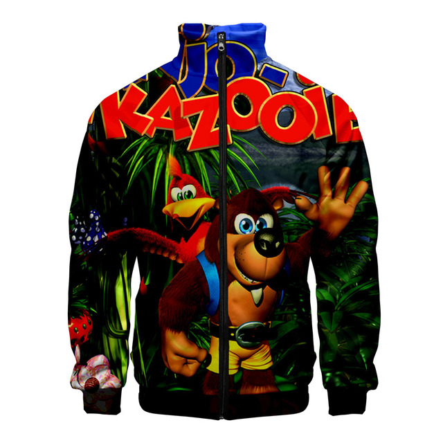 Jogos de vídeo de Banjo-Kazooie 3D Estilo Slim fit Homens Slim fit Zipper Tendência Da Moda Casuais Jaqueta Corta-vento Blusão