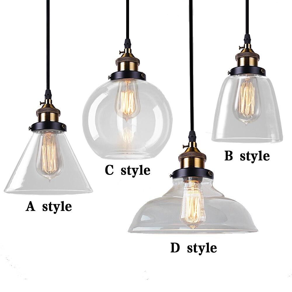 Vintage Pendant Lights Glass Abajur Suspension Luminaire Loft Retro E27 Lamp Lamparas Colgantes Industrial Home <font><b>Lighting</b></font> Fixture