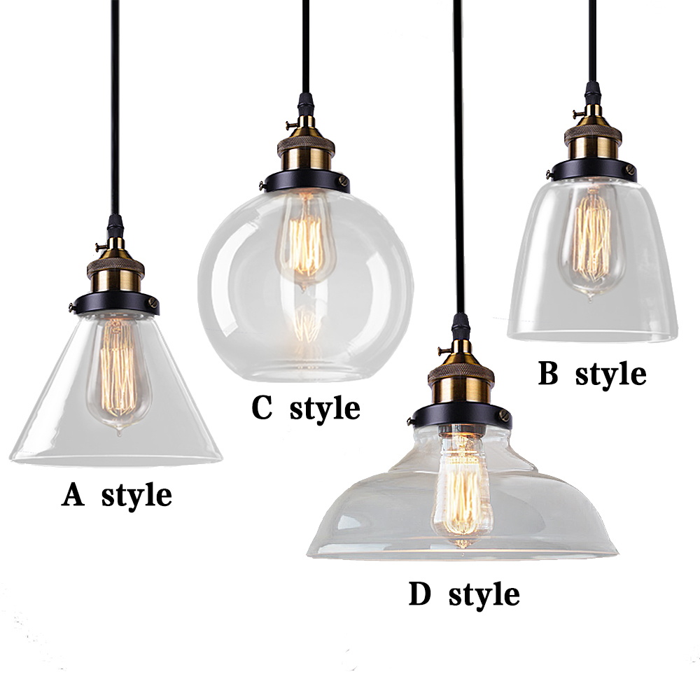 Vintage <font><b>Pendant</b></font> Lights Glass Abajur Suspension Luminaire Loft Retro E27 Lamp Lamparas Colgantes Industrial Home Lighting Fixture
