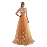 Gold Tulle Satin V Neck Backless Lace Up Floor Length Party Gown One piece Vestido de noche Robe de soiree Formal Dress