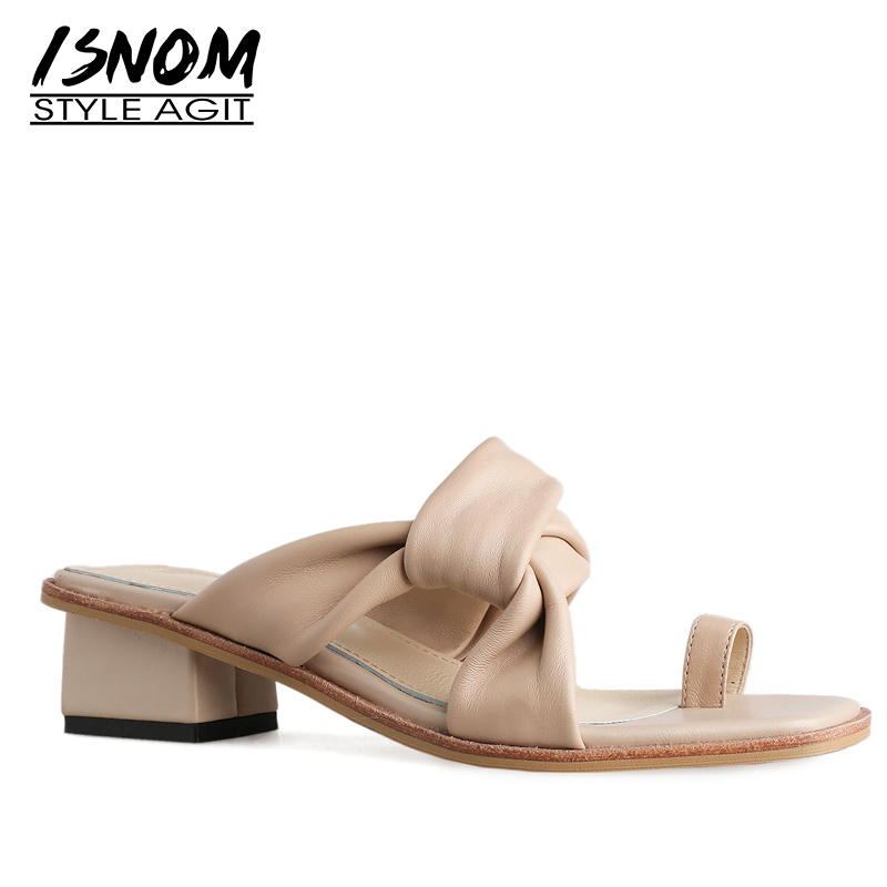 ISNOM Thick Heels Slippers Woman Open Toe Footwear Cross Tied Slides Shoes Female Leather Casual Mules