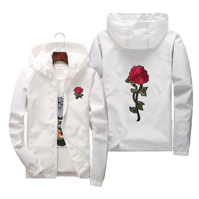 Women Basic Jackets 2019 Spring Women Hooded Jacket Coats Embroidery Rose Causal Men windbreaker Lightweight Bomber Famale White