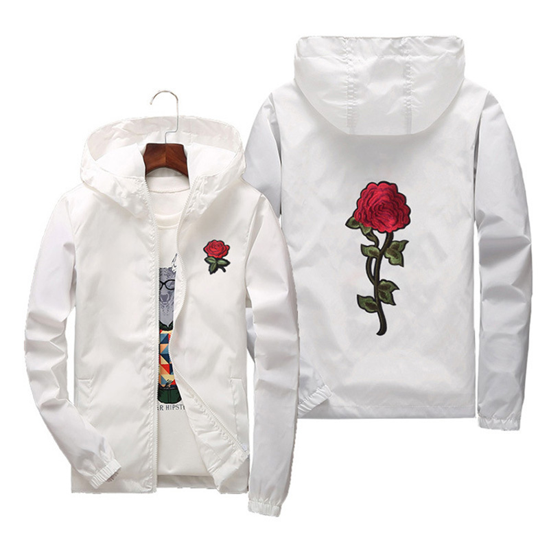 Women   Basic     Jackets   2019 Spring Women Hooded   Jacket   Coats Embroidery Rose Causal Men windbreaker Lightweight Bomber Famale White