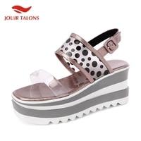 JOUIR TALONS Brand design leisure Polka Dot Ladies Wedges High Heels Platform Women Shoes Woman Casual Summer Sandals