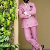 2017 Latest Coat Pant Designs Double Breasted Pink Linen Men Suit Slim Fit Tuxedo Summer Custom 2 Piece Jacket Terno mens suits
