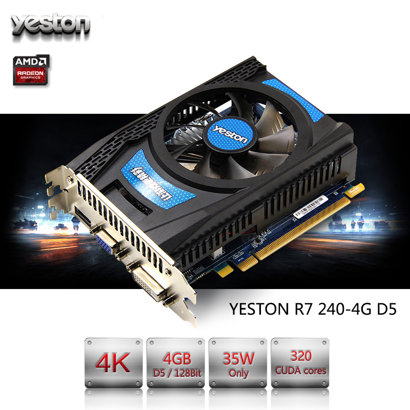 Yeston Radeon R7 200 Série R7 240 GPU 4 GB GDDR5 128bit Gaming Desktop PC suporte De Vídeo Placas de vídeo VGA/DVI/HDMI