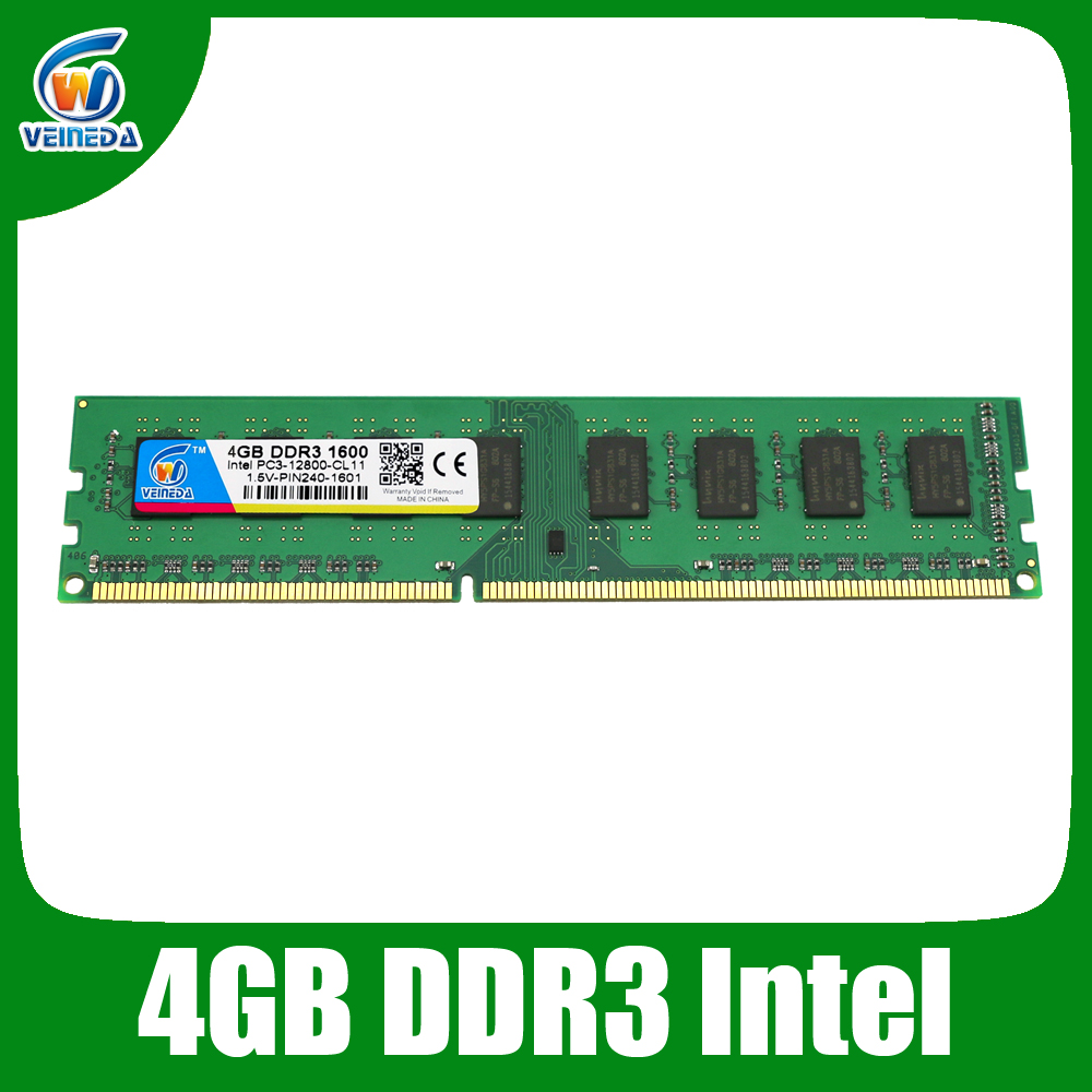 VEINEDA Dimm Ram ddr3 4 GB ddr3-1600/1333/1066 compatible con todo Intel AMD Desktop 240pin
