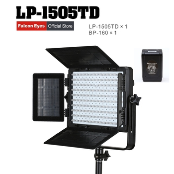 Falcon Eyes 75W LED Panel Photography Video Light Bi-color Dimmable LED Studio Lamp LP-1505TD with battery BP-160
