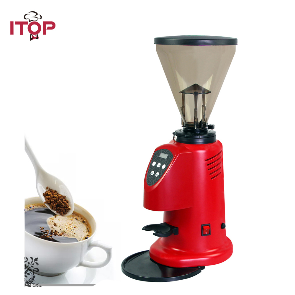ITOP Commercial Coffee Grinder Machine Bean Mills Red Aluminum LED Screen Digital Control Easy Operation