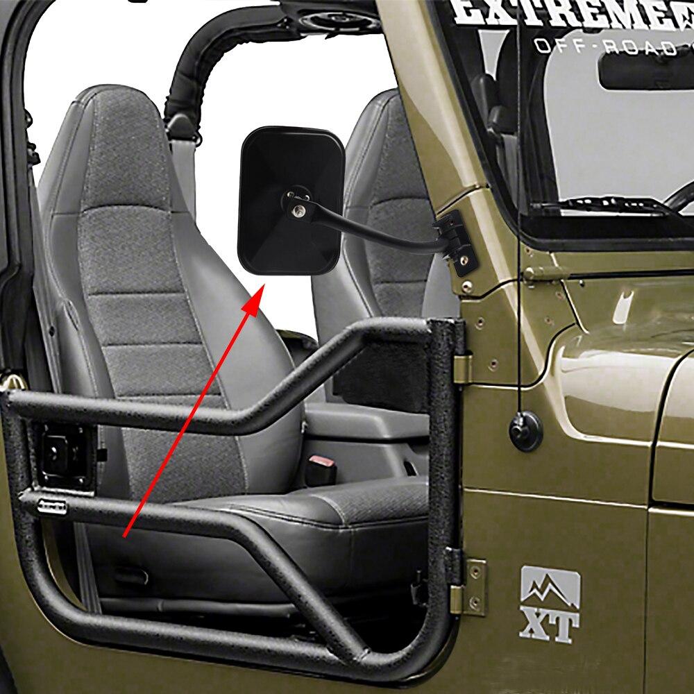 Car Side Door Rearview Mirror Adjustable Shape Angle Lens Blind Spot Exterior For Jeep Wrangler TJ