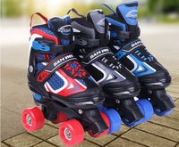 Hot ! 2 in 1 roller skate double row skating shoes pulley shoes 4 wheel shoes For Boy Girl +Helmet+protective gear