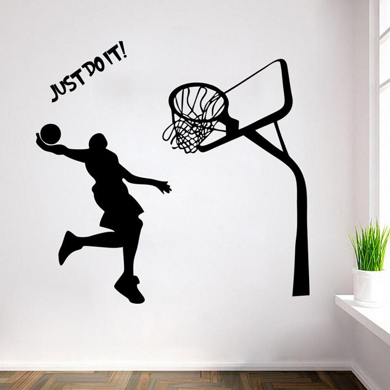 Removable Waterproof JUST DO IT Black Basketball Boy