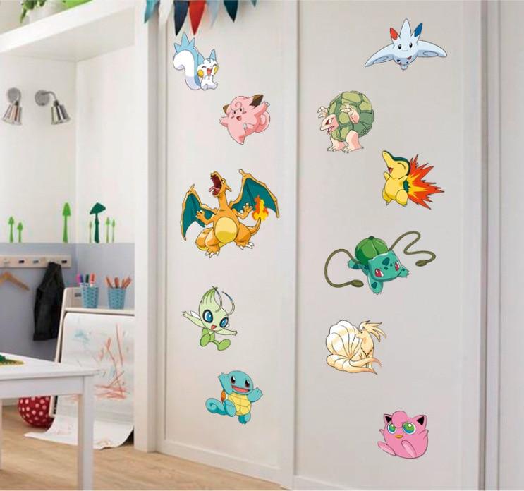 Popular Game Pokemon Go Wall Stickers for Kids Rooms Cartoon Pikachu Wall Decal Art Mural Nursery Room Decor Gift