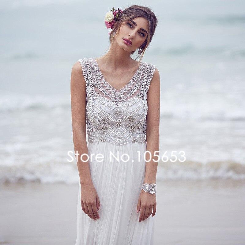 2017 lange Chiffon Perlen Brautkleid Perlen Boho Hochzeitskleid Sexy ...