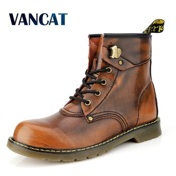 Vancat Brand Cowhide Split Autumn Winter Warm Fur Vintage Motorcycle Boots Male Riding Shoes Men Snow Ankle High Top Men's boots