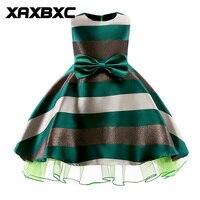 ZT2101 Bow Knot Stripe Princess Dresses Kids Prom Gown Evening Dresss Wedding Party Dress Girls Clothes