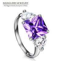 Neoglory Charm Nonadjustable Wedding Rings for Women Fashion Zircon Jewelry 2017 New Brand RI1 QC