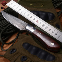 BGT Damascus Handmade Fixed Straight Knife Tactical Hunting Combat Survival EDC Knives Rescue Camping Multi Tools Wood Handle