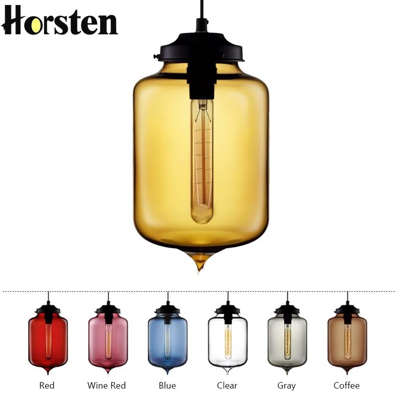 7 Color Loft Vintage Antique Industrial Colorful Glass Pendant Lights Hanging Light for Restaurant Cafe Bar Pendant Lighting one light frosted glass antique rust hanging lantern