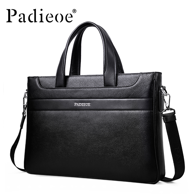 Padieoe Hot Sale Deluxe Fashion Business Man Briefcase Luxury Genuine Leather Shoulder Bag High Quality Durable male Briefcase