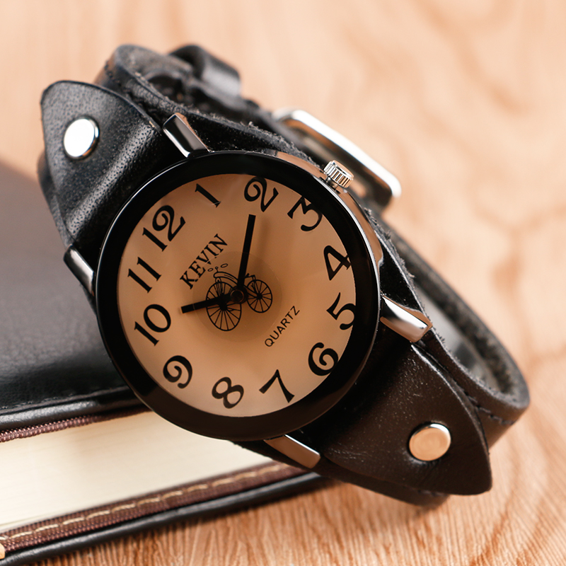 Fashion Stempunk Quartz Watches Men Women KEVIN Watches Male Sport Bicylce Dial Wrist Watches Teenager Clock