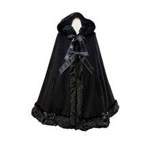 Теплый зимний длинный плащ с капюшоном, классическое меховое пальто Лолиты для женщин, милый костюм Лолиты для девочек