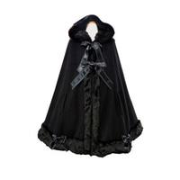 Warm Winter Long Hooded Cloak Classic Lolita Fur Coat for Women Sweet Girl Lolita Costume