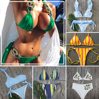 White Lace Bikini Set Padded Swimsuit Beachwear Low Waist Bikinis Push Up NK76