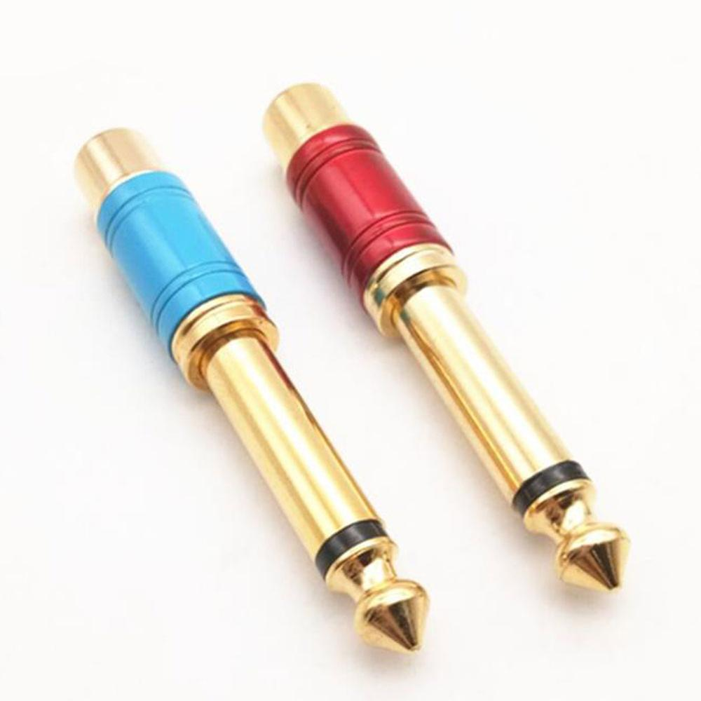 Luxury Quality Nickel Plating RCA Jack Audio Connector 6.35mm Mono Plug To RCA Speaker Adapter Blue & Red 1pair XF30