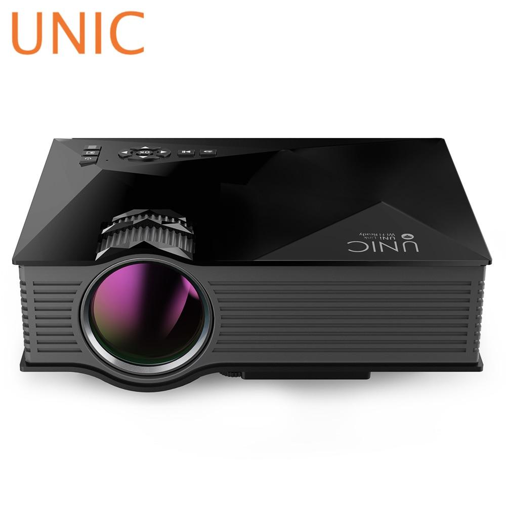 Unic uc46 + светодиодный ЖК-дисплей проектор 800x480 Пиксели Full HD 1080 P 1200 люмен Мини Портативный домашний театр кино светодиодный проектор