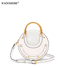 ФОТО FANNESE  Handbag Spliced cowhide Round Inclined shoulder bag package  bags for women