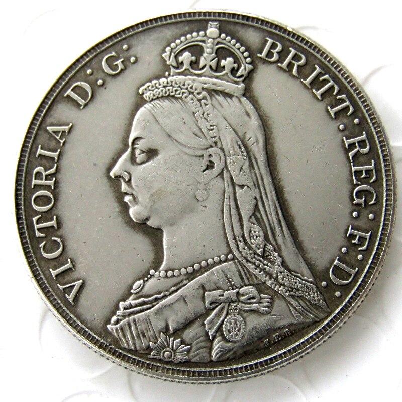 England UK 1888 silver One Crown Queen Victoria Copy Coin ...