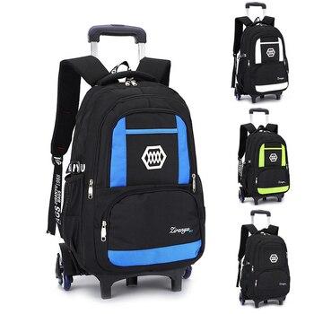 Mochila escolar con carro extraíble 2/6 ruedas mochila impermeable para niños mochila escolar niños bolsas de equipaje de gran capacidad