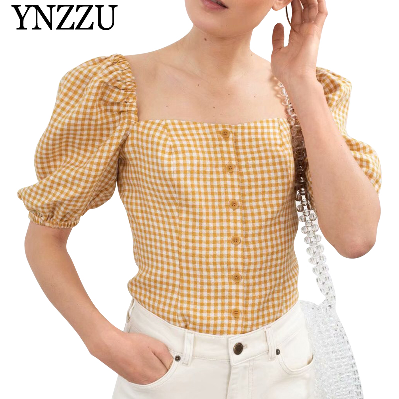 YNZZU 2019 Summer plaid square collar crop top Lady single breasted ruffle blouse Chic new arrival puff sleeve women top YT610 in Blouses amp Shirts from Women 39 s Clothing