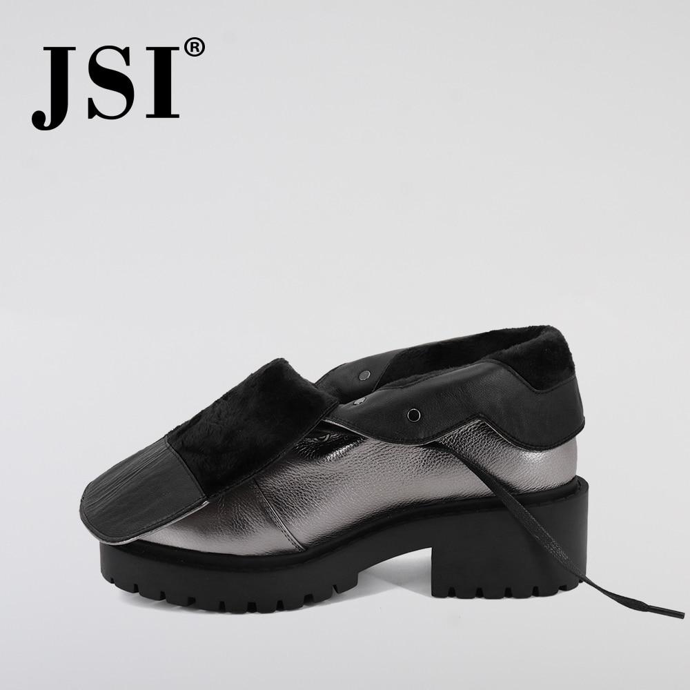 Jsi mulheres botas de tornozelo de couro genuíno nova venda quente sólida mid heel sapatos moda básica metal decoração dedo do pé redondo senhora botas jm42 - 5