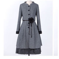 2018 New Spring Autumn Women Coat Fashion Waist Slim Long Cardigan Trench Coat P Size Gray