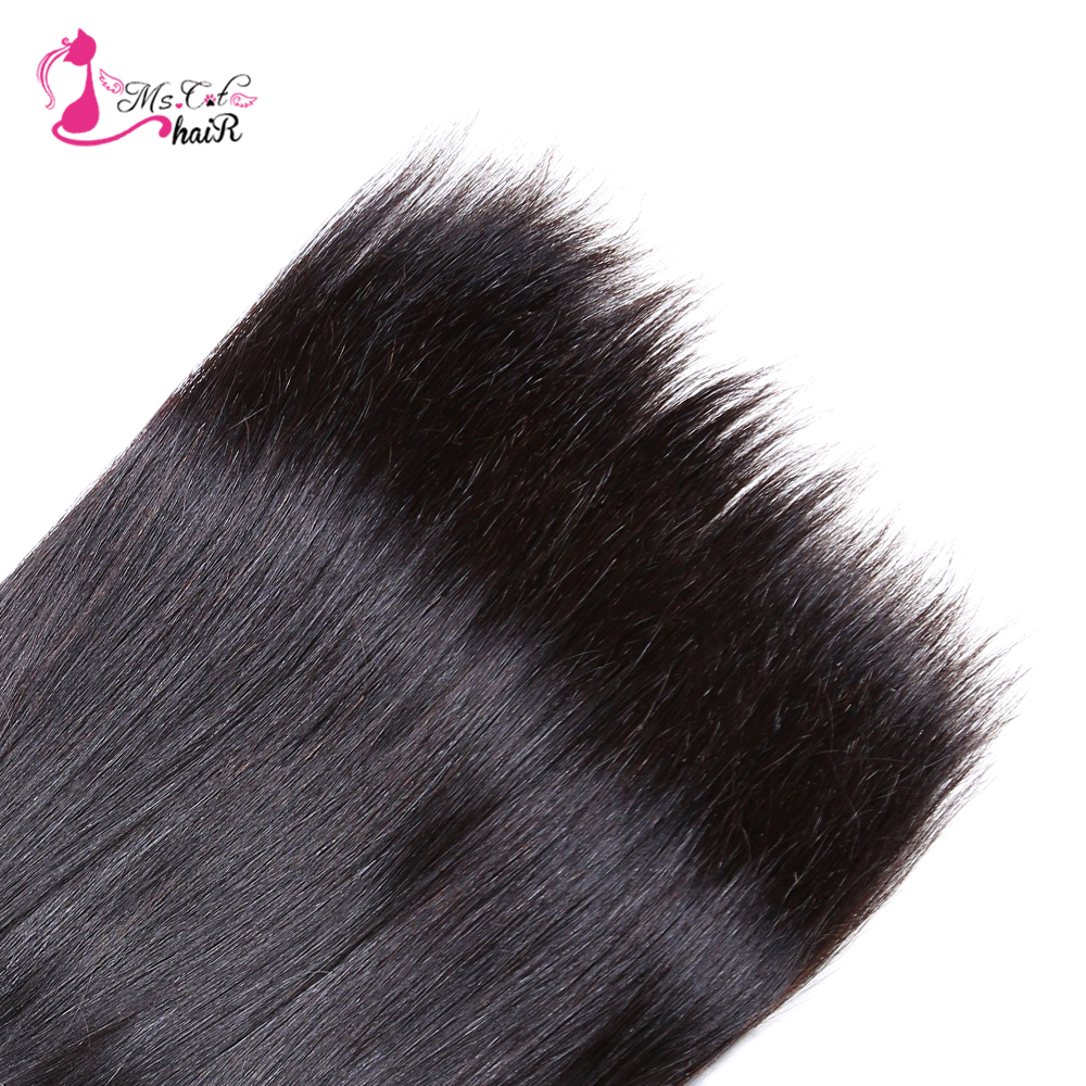 Ms Cat Hair Brazilian Straight Hair 1/3/4 Bundles 100% Human Hair - Mänskligt hår (svart) - Foto 5