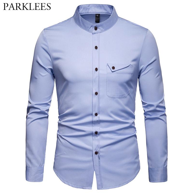 31742788243e16a Белый Мандарин рубашка с воротником для мужчин 2019 весна новый тонкий длинным  рукавом ...