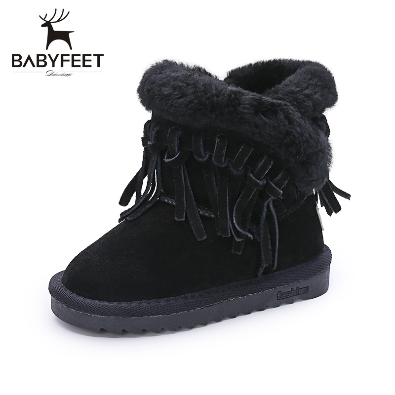 2017 babyfeet winter shoes for girl children ankle Tassel snow kids boots princess girls leather toddler kinder laarsjes meisjes kids shoes girls winter diamond bow toddler pu shoes children trainers baby shoes infantil princess warm shoes chaussure enfant