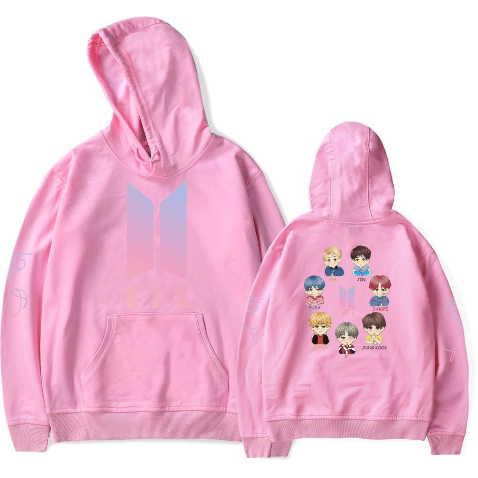 BTS Kpop Love Yourself Member Cartoon Image Bangtan Boys Hoodies Sweatshirts Women Fans Sweatshirt Hip Hop Popular Idol Clothes