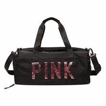 Mujeres lentejuelas de Nylon bolsa de hombro portátil deporte equipaje  bolsos de viaje de gran capacidad 7c008119d5d5e